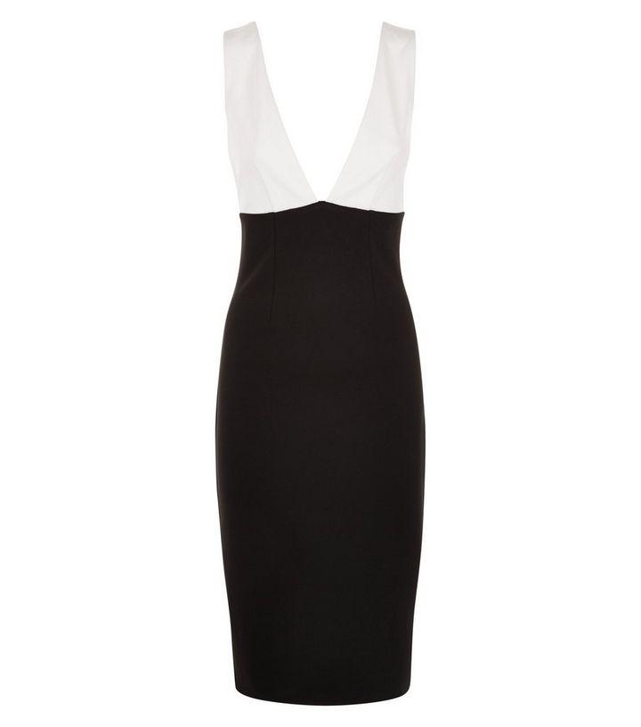 0da827b4843 Black Colour Block Deep V Neck Bodycon Midi Dress