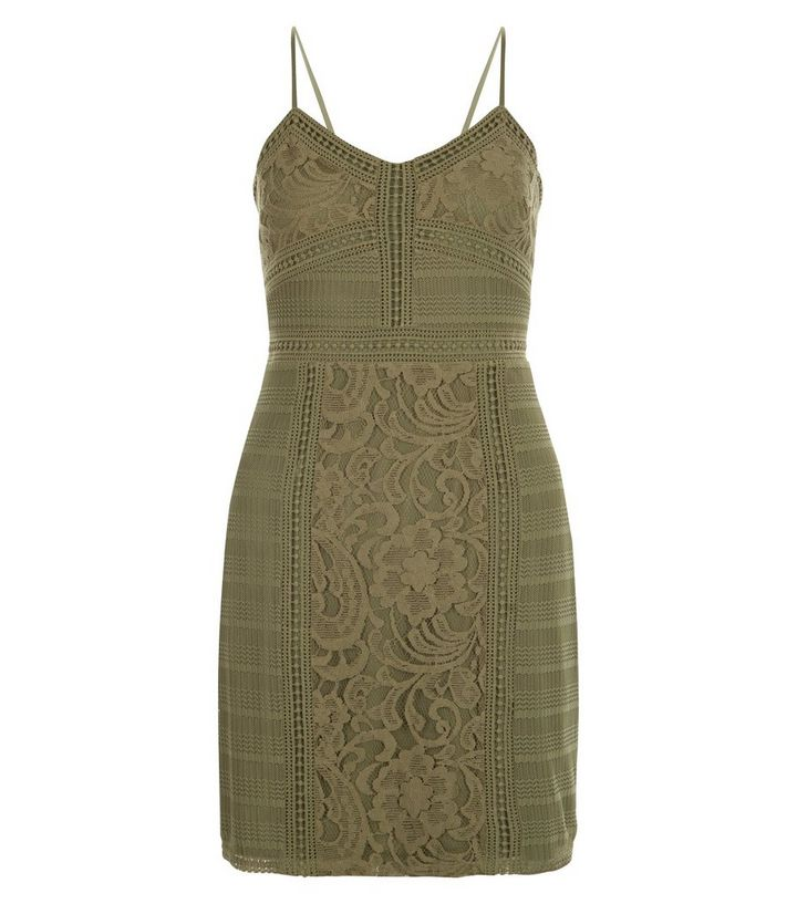 483277cfdad7 Khaki Contrast Lace Strappy Bodycon Dress