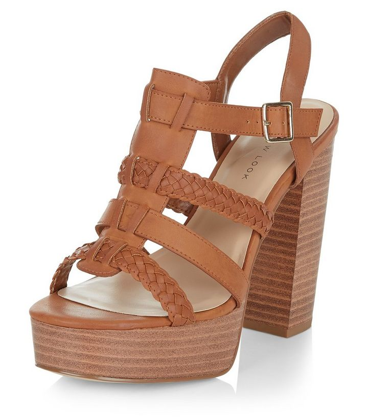 25ab1924deb Wide Fit Tan Leather-Look Gladiator Sandals
