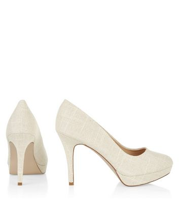Wide Fit Cream Canvas Pointed Court
