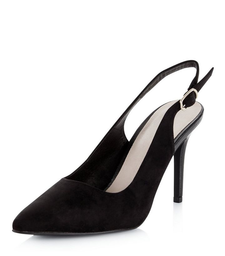 6dcb18a174e Black Comfort Pointed Sling Back Heels Add to Saved Items Remove from Saved  Items