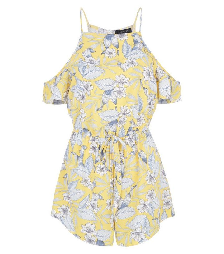7b9cde0646 Yellow Tropical Print Cold Shoulder Playsuit