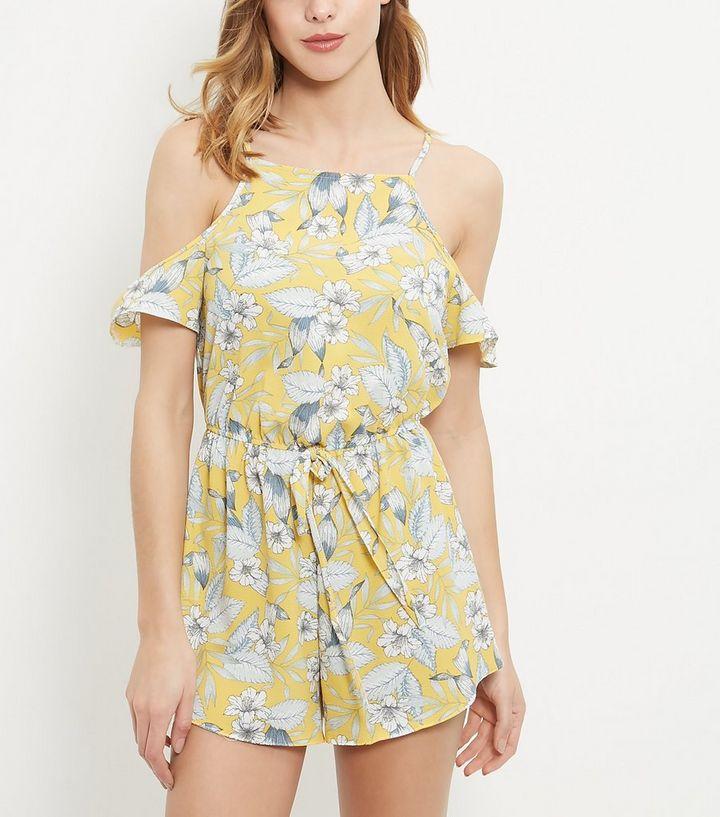 409d31a47d1 ... Yellow Tropical Print Cold Shoulder Playsuit. ×. ×. ×. Shop the look