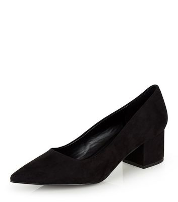 Black Suedette Pointed Block Heels