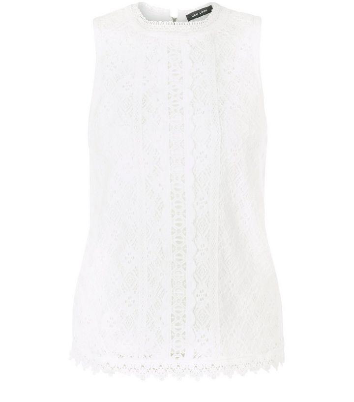 8459db3f8ee314 Cream Lace Trim Sleeveless Top
