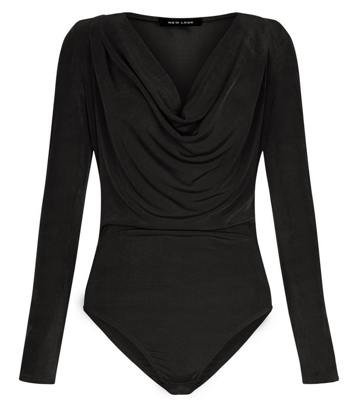 93e8f4d79b Black Cowl Neck Long Sleeve Bodysuit   New Look
