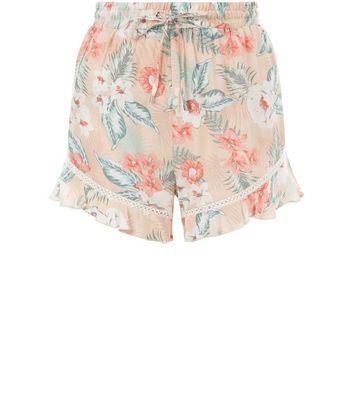 Pink Floral Print Frill Hem Shorts New Look