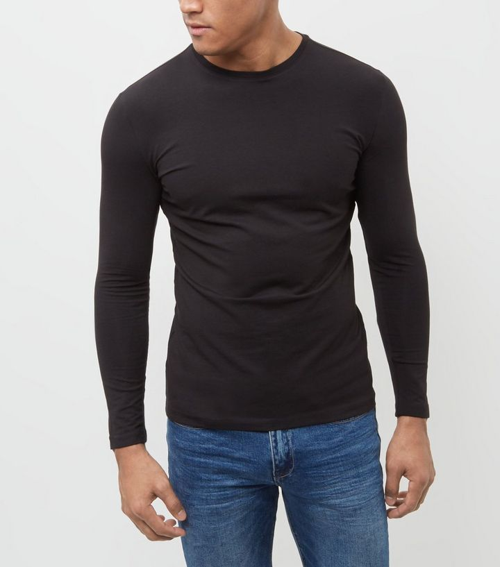 ec133946d Black Cotton Stretch Long Sleeve Top