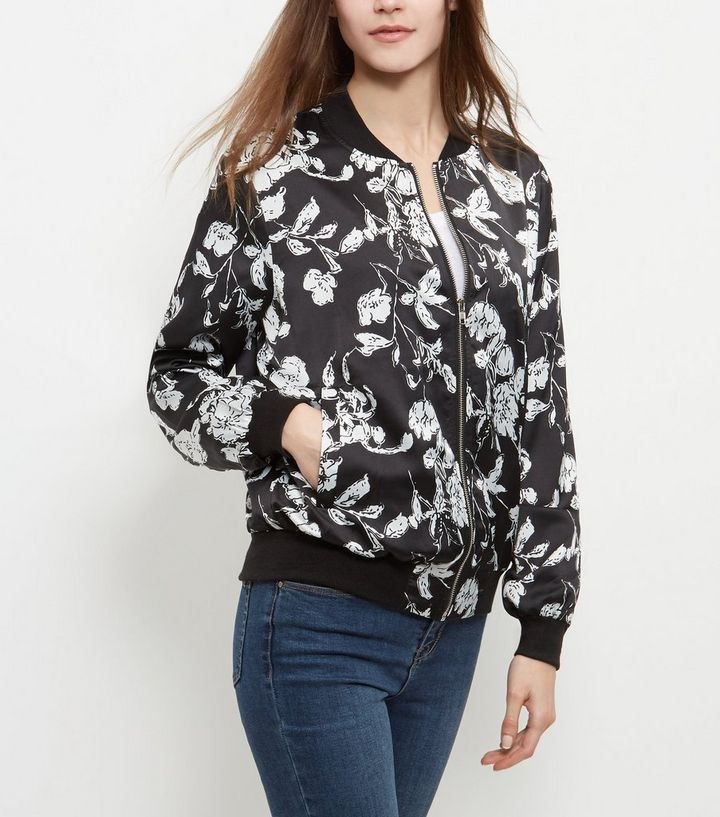 15a667a50db9b ... Black Floral Print Bomber Jacket. ×. ×. ×. Tap image to zoom in. Shop  the look