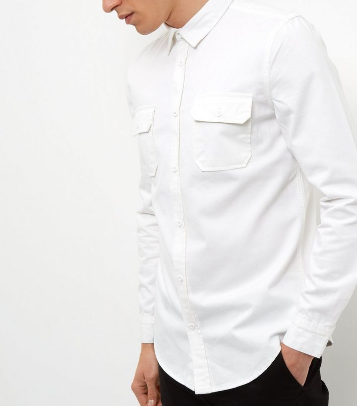 944223ab2 White Denim Double Pocket Long Sleeve Shirt | New Look