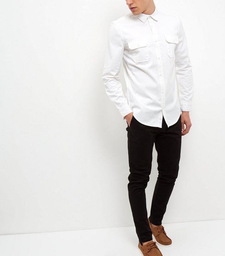 reputable site c2852 892b0 Langärmliges weißes Jeanshemd mit zwei Taschen Für später speichern Von  gespeicherten Artikeln entfernen