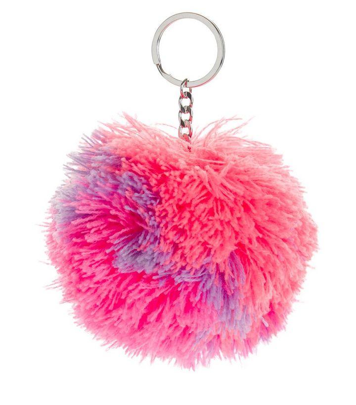 Bright Pink Pom Pom Keyring  52abcfc65