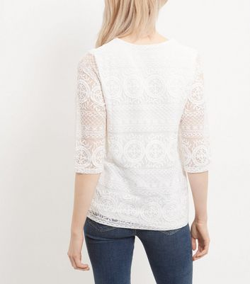 Anita and Green Cream Lace Tie Front Top New Look