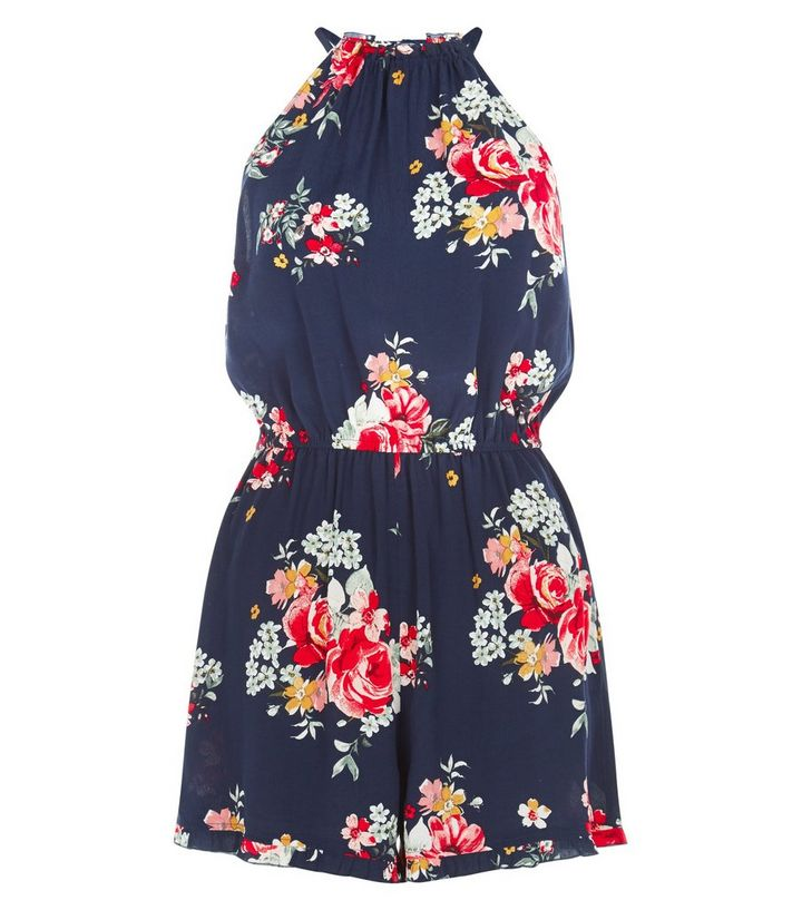 8a5f32660b Navy Floral Print High Neck Playsuit