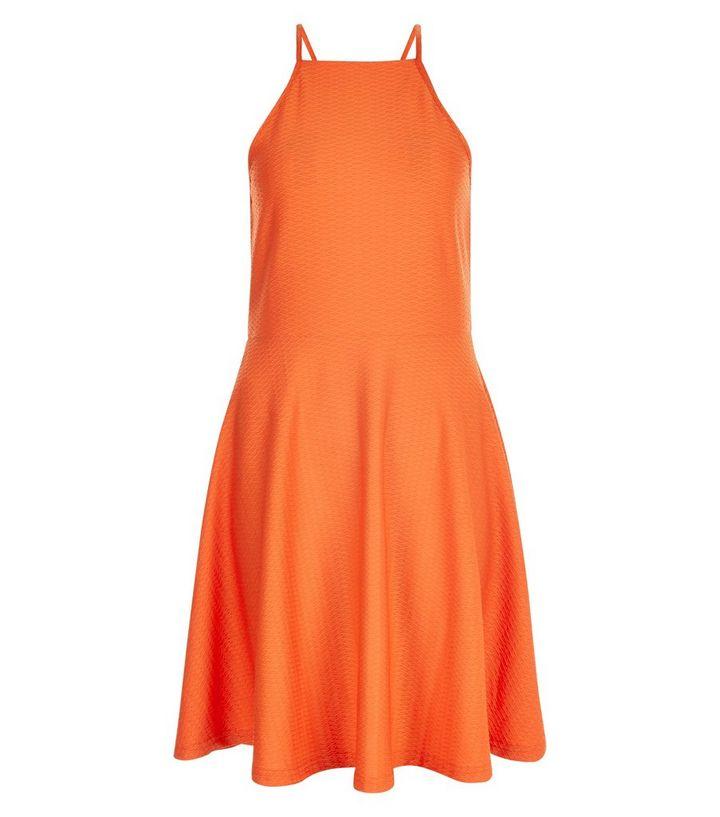 Bright Orange Jacquard Jersey Skater Dress  063212802