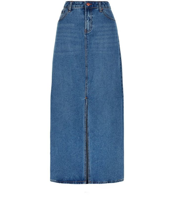 949e412f96 Blue Split Front Maxi Denim Skirt | New Look