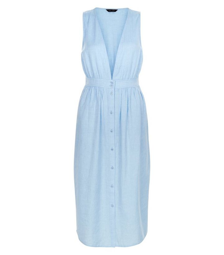 ea3b017bb874 Pale Blue Button Front Deep V Neck Midi Dress
