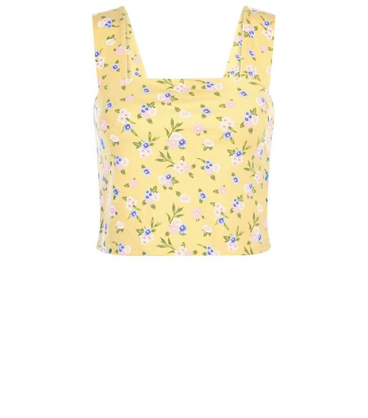 410a48b47a7 Yellow Ditsy Floral Crop Top | New Look