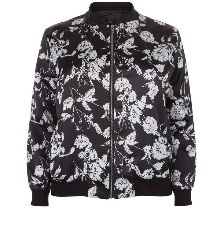 8493351de Plus Size Black Floral Print Bomber Jacket Add to Saved Items Remove from  Saved Items