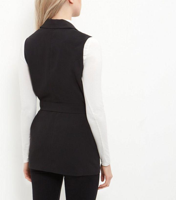 19d30469d400b1 ... Black Tie Waist Sleeveless Blazer. ×. ×. ×. Shop the look