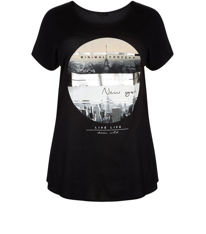 Plus Size Black Paris New York Print T-Shirt 313f2a13f
