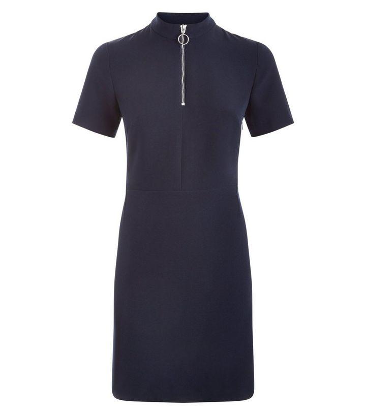 436126da174 Navy Zip Front Tunic Dress | New Look