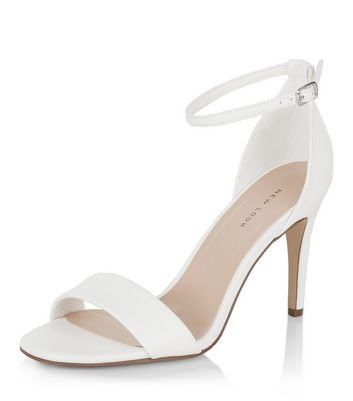 White Square Toe Heeled Sandals | New Look