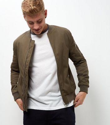 Khaki Zip Sleeve Bomber Jacket New Look