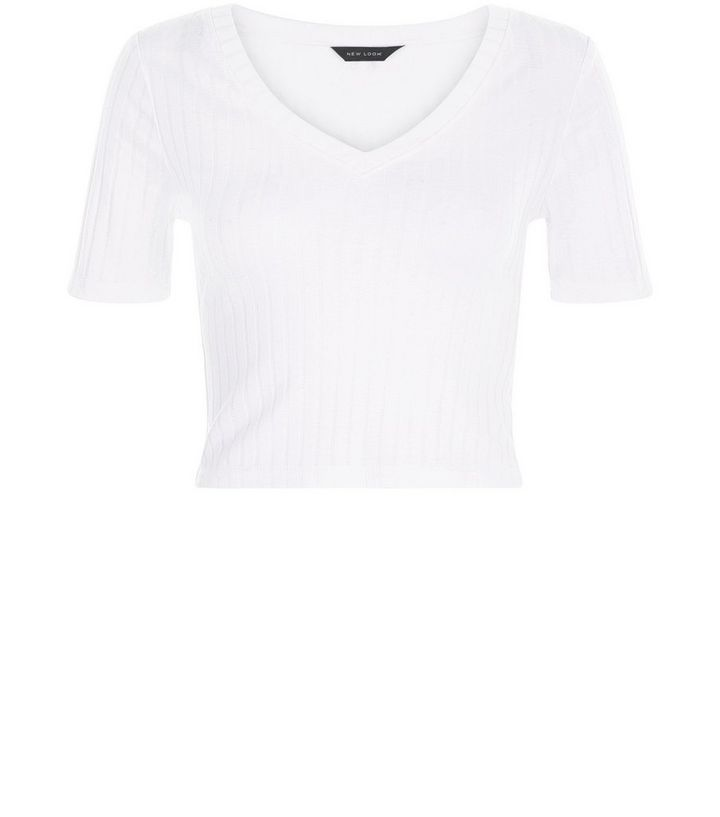 28609db1 White Ribbed V Neck Crop Top | New Look