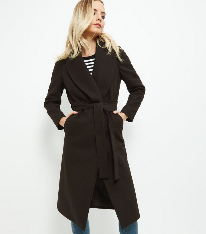 9ea68133 Petite Black Belted Wrap Front Longline Coat Add to Saved Items Remove from  Saved Items