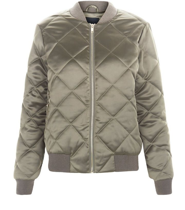 29ce82727 Khaki Quilted Bomber Jacket Add to Saved Items Remove from Saved Items