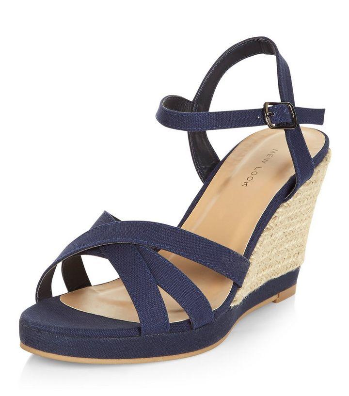 fbfe1b785 Navy Cross Strap Wedge Sandals   New Look