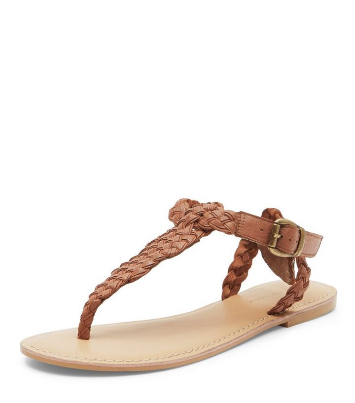 575836c99fc6 Tan Leather Woven Strap Sandals