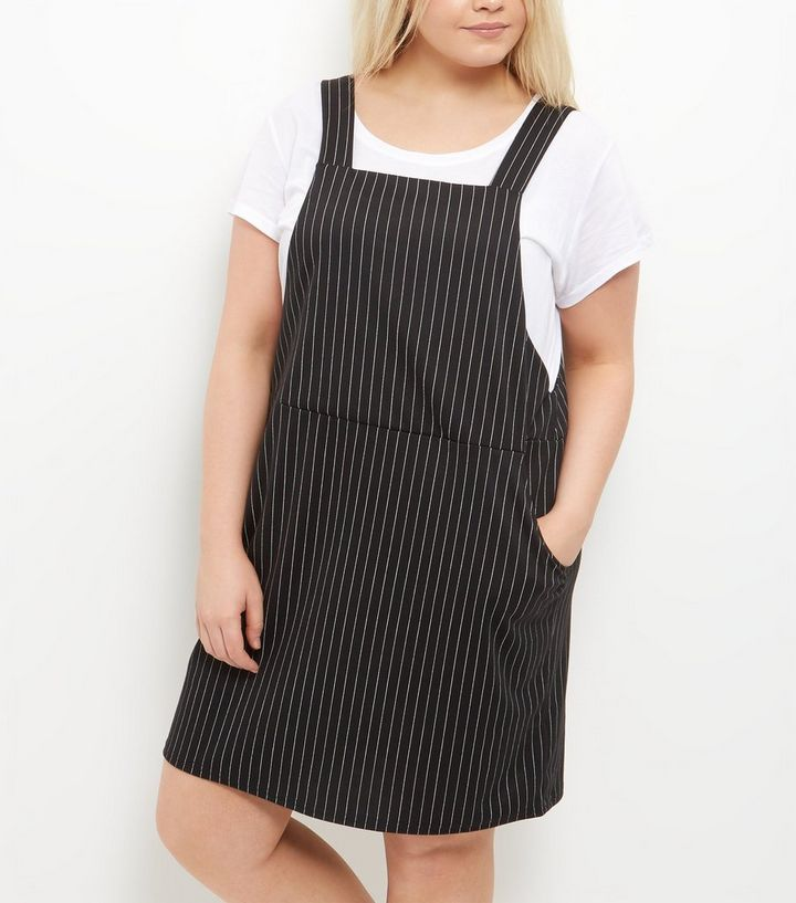 026ad14b652 ... Curves Black Pinstripe Pinafore Dress. ×. ×. ×. Shop the look