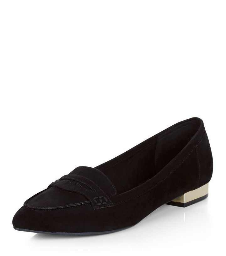 59a2abefa82 Wide Fit Black Suedette Pointed Loafers
