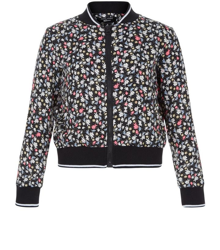 fc447dc99 Girls Black Ditsy Floral Bomber Jacket Add to Saved Items Remove from Saved  Items
