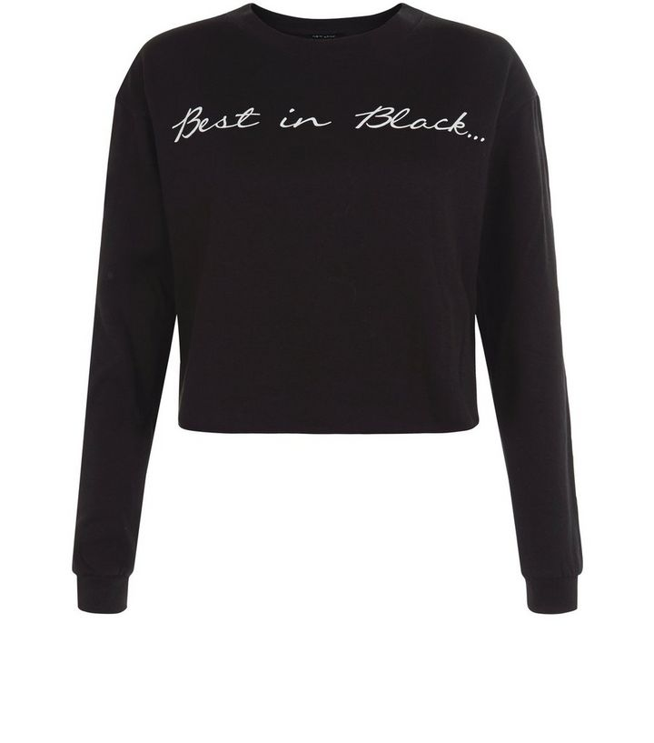 Black Best In Slogan Cropped Sweater Add to Saved Items Remove from Saved  Items