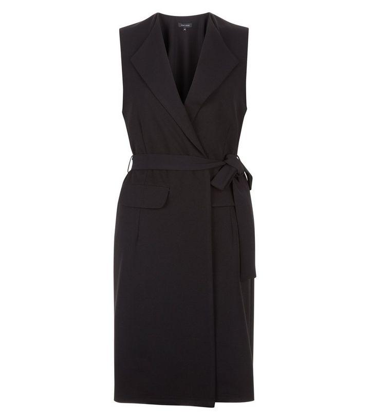 12a58e0d28c59 Black Crepe Tie Waist Sleeveless Blazer | New Look