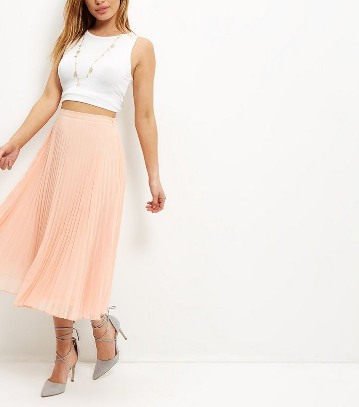 favorable price great prices dirt cheap Petite Shell Pink Pleated Midi Skirt Add to Saved Items Remove from Saved  Items