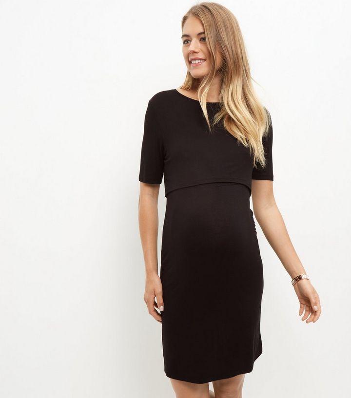 9ee532269c6 ... Maternity Black Layered Nursing Dress. ×. ×. ×. Shop the look