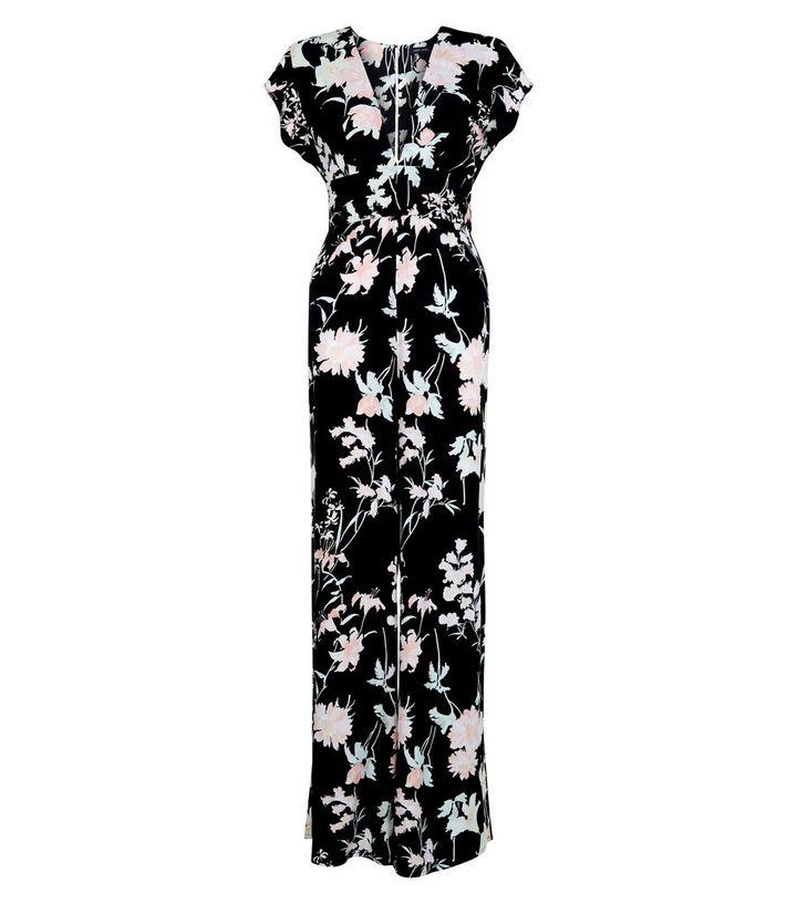 62fa146ee2 Black Floral Print Deep V Neck Wide Leg Jumpsuit