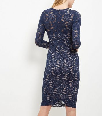 AX Paris Navy Lace 3/4 Sleeve Dress New Look
