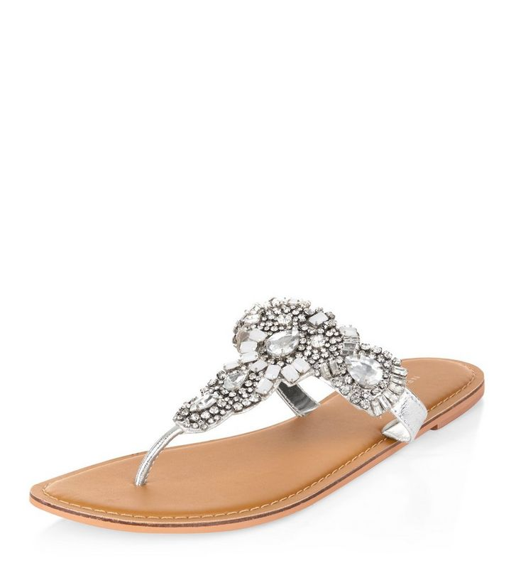 2fe7590d9 Silver Leather Gem Stone Sandals