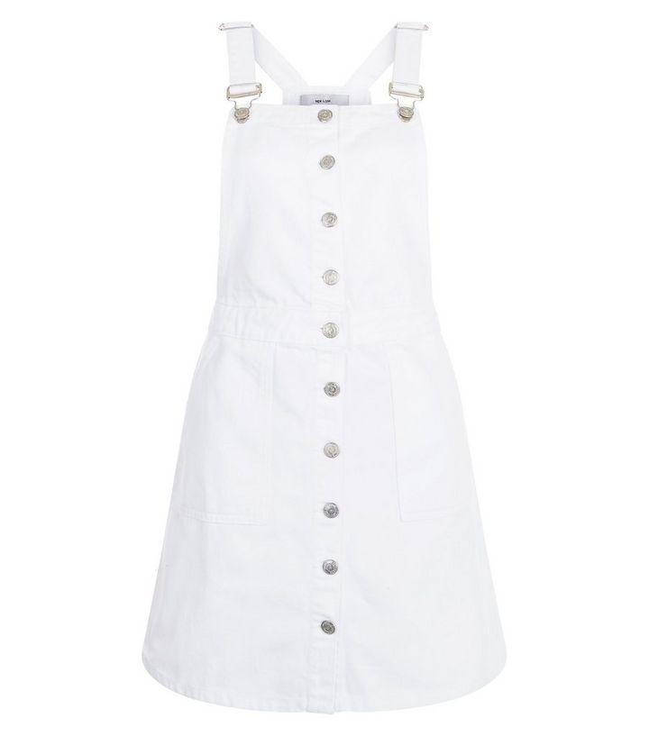 f923d73908 White Button Front Denim Pinafore Dress