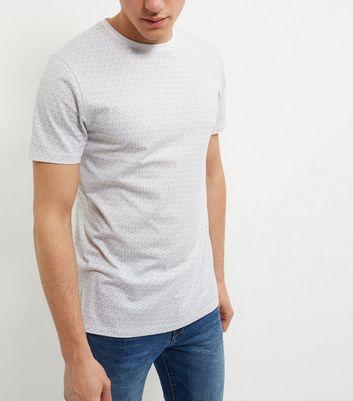Grey Geo Print T-Shirt New Look