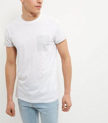 White Geo Print Pocket T-Shirt New Look