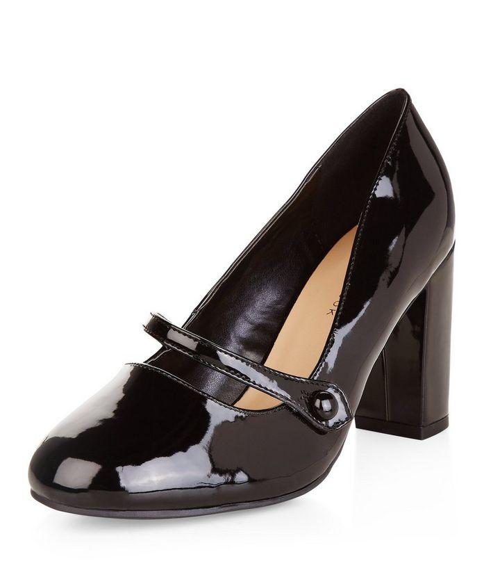 027cd7f256 Wide Fit Black Patent Mary Jane Block Heels | New Look