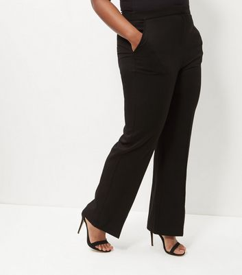 Curves Black Bistretch Wide Leg Trousers New Look