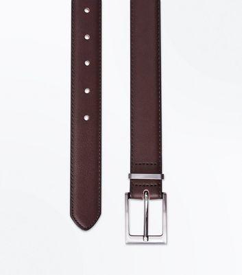 Dark Brown Leather Look Belt New Look