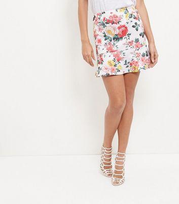 White Floral Print Peplum Hem Skirt New Look